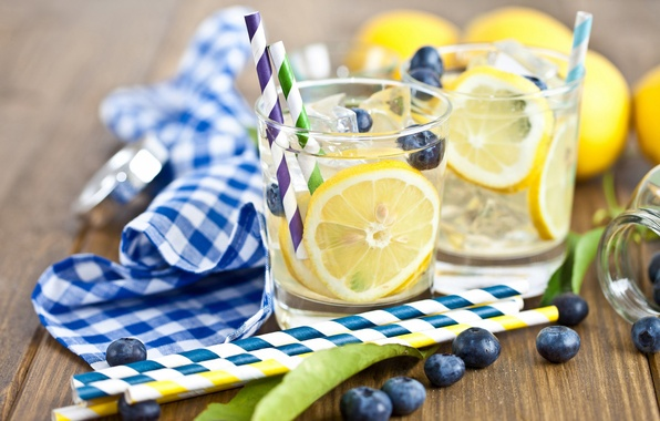 Picture ice, leaves, berries, lemon, cubes, blueberries, glasses, drink, tube