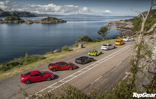 Picture road, the sky, water, coast, McLaren, Ford, 911, Porsche, BMW, Lotus, Top Gear, Toyota, Focus, ...