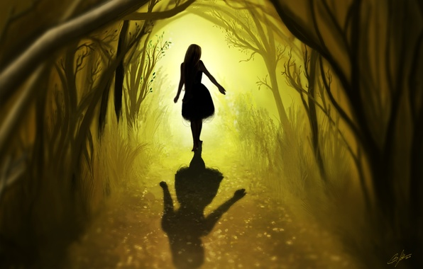 Picture road, forest, leaves, girl, trees, hair, back, shadow, art
