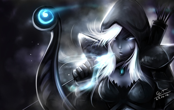 Picture girl, bow, art, hood, arrow, elf, dota 2, Drow Ranger