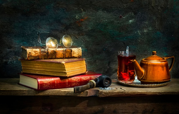 Picture glass, tea, books, tube, glasses, Tradition
