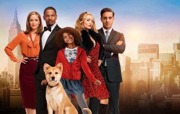 Picture the city, background, dog, girl, poster, Rose Byrne, Rose Byrne, Cameron Diaz, Jamie Foxx, Jamie …