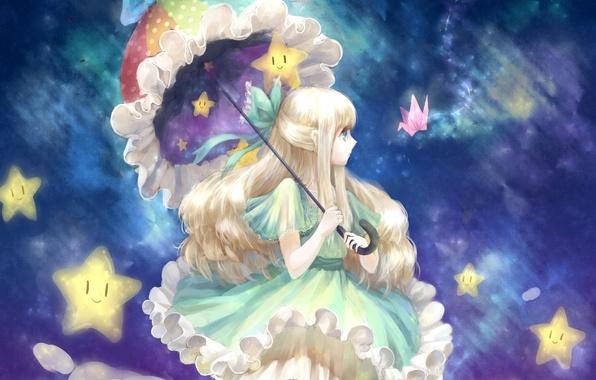 Picture girl, stars, clouds, umbrella, art, bow, origami, cea