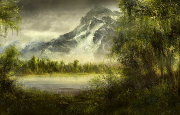 Picture forest, trees, lake, pond, mountain, art, willow