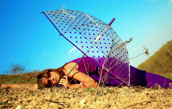 Picture GIRL, FOREST, NATURE, The SKY, LYING, BROWN hair, GLASSES, EARTH, BLUE, UMBRELLA