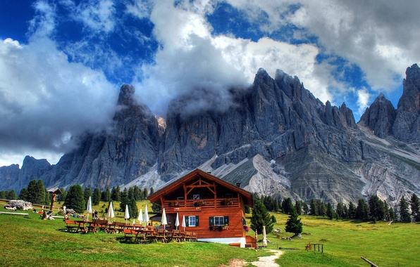 Picture road, grass, clouds, trees, landscape, nature, house, Mountains, umbrellas