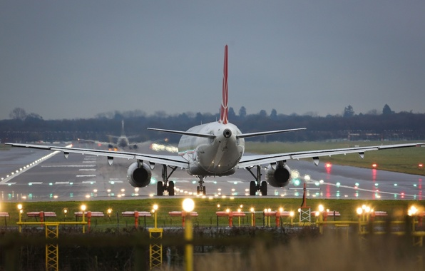 Picture strip, Airport, The rise, the plane, landing, takeoff, Passenger, Airbus, Airbus, WFP, A-320