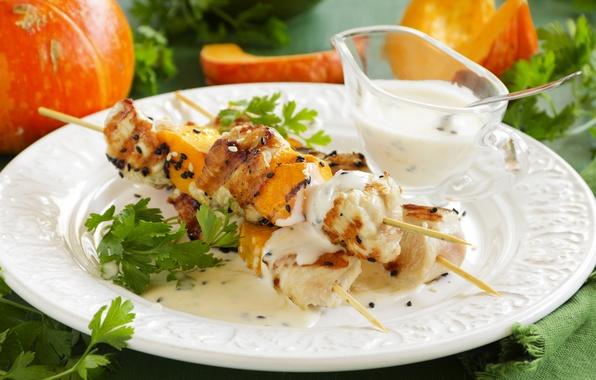 Picture greens, food, meat, sauce, food, kebab, skewers, vegetables, sauce, meat skewers, kebab
