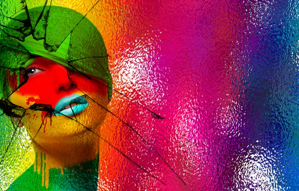 Picture glass, girl, abstraction, face, style, color, lips