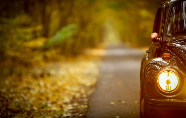 Picture road, machine, glass, light, machine, yellow, metal, retro, mood, romance, focus, the evening, headlight, wing, …