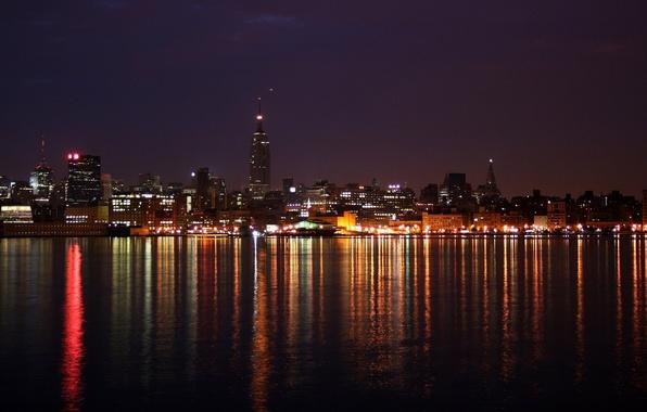 Picture sea, lights, night city