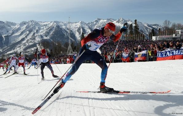 Picture snow, mountains, ski, Olympics, Russia, Sochi, 2014, Alexander Legkov, free style, mass start