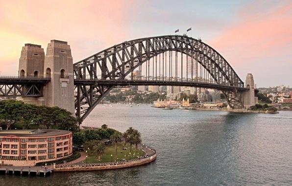 Picture sunset, bridge, the city, Australia, Bay, Sydney, Australia, Sydney, Sydney Harbour Bridge, Harbour Bridge, flags., …