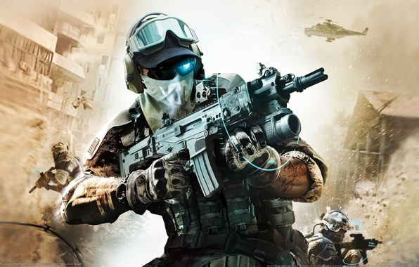 Picture the explosion, weapons, glasses, machine, soldiers, gloves, helicopter, camouflage, sight, hologram, squad Ghost, Ghost Recon: ...