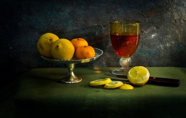 Picture knife, still life, lemons, tablecloth, A Flemish fantasy