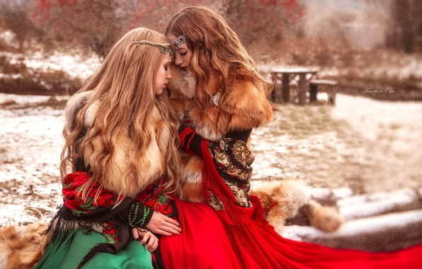 Picture winter, decoration, girls, mood, hair, fur, friend