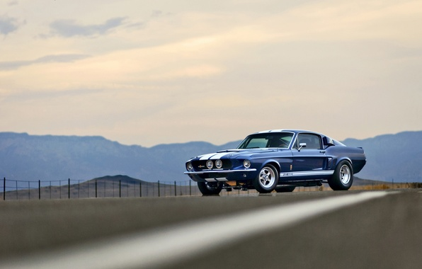 Picture road, the sky, mountains, the fence, Mustang, Ford, Shelby, GT500, wheel, side