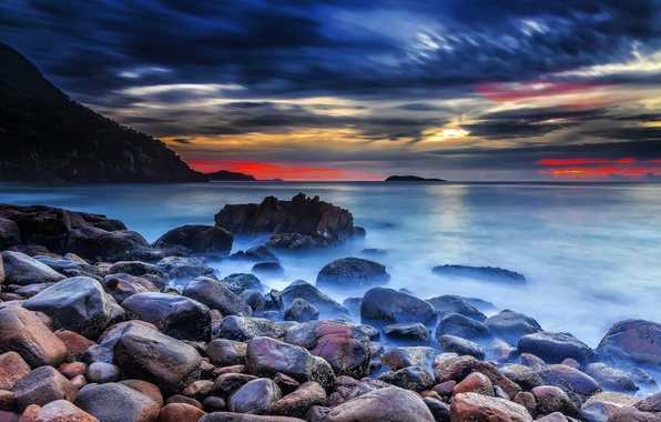 Picture sea, the sky, clouds, sunset, clouds, nature, stones, rocks, glow