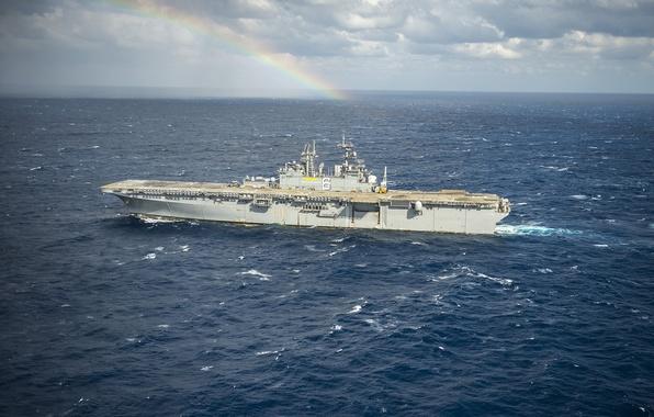 Picture sea, ship, rainbow, USS Bonhomme Richard, landing, (LHD-6)