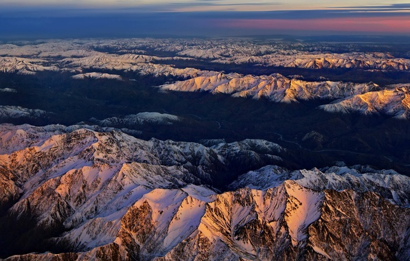 Picture the sky, clouds, snow, sunset, mountains, tops