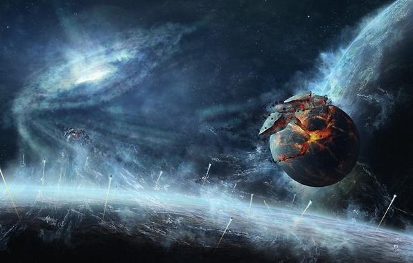 Picture the wreckage, space, planet, ships, art, destruction, quasar