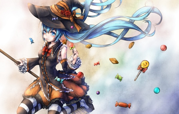 Picture language, girl, holiday, stockings, hat, anime, art, candy, witch, broom, vocaloid, hatsune miku, halloween, kajane …