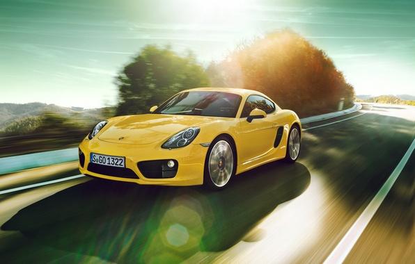 Picture road, car, Porsche, in motion, rechange, porsche cayman