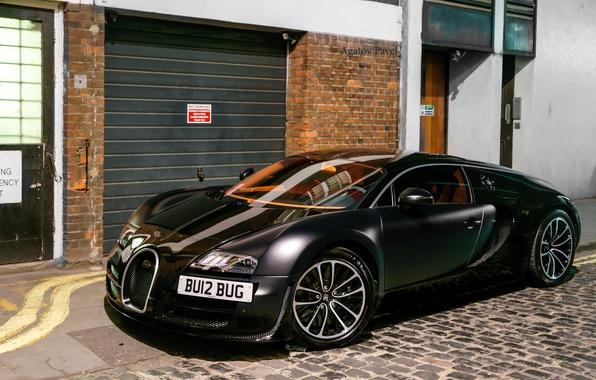 Picture Bugatti, Veyron, black, London, matte, Super Car