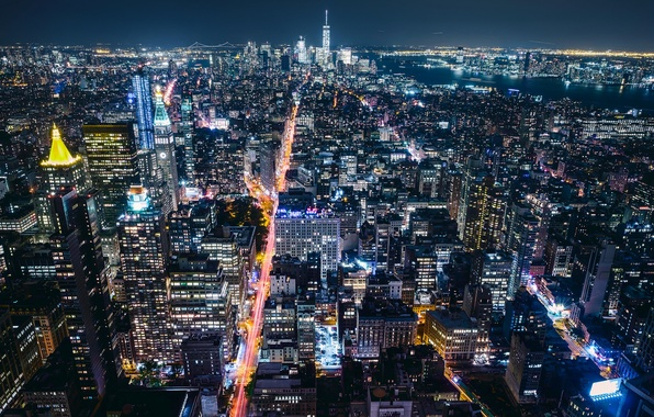 Picture night, the city, USA, New York, lights, New York, million