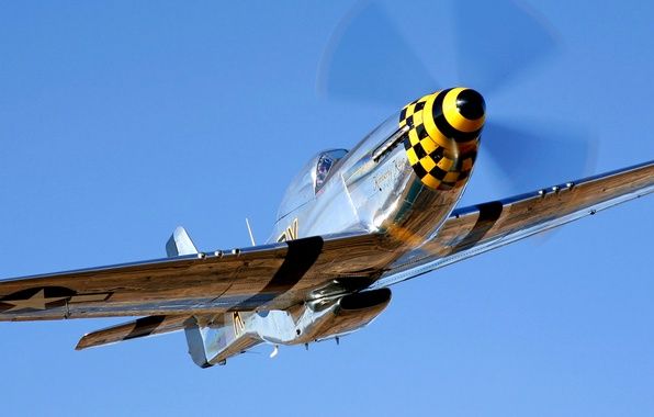 Picture the sky, flight, retro, the plane, fighter, propeller, P-51 Mustang