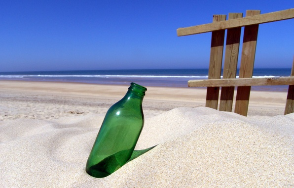 Picture sand, sea, shore, bottle