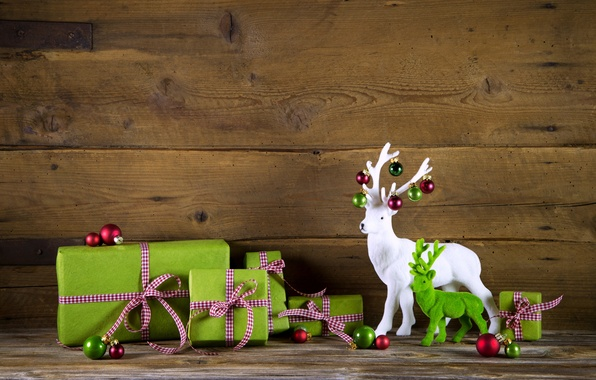 Picture New Year, Christmas, gifts, Christmas, wood, decoration, gifts