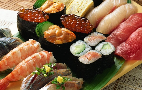 Picture food, fish, caviar, dish, rolls, shrimp, seafood