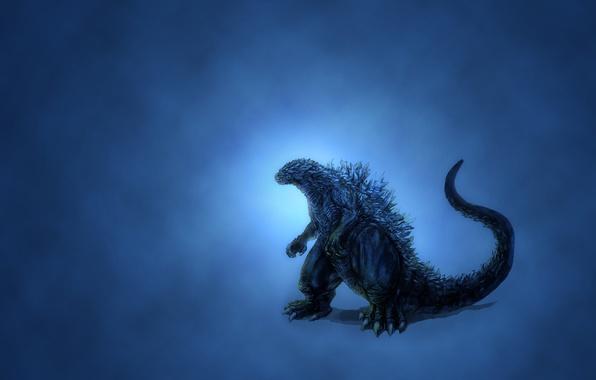 Picture dinosaur, glow, minimalism, blue background, Godzilla, darkish, Godzilla