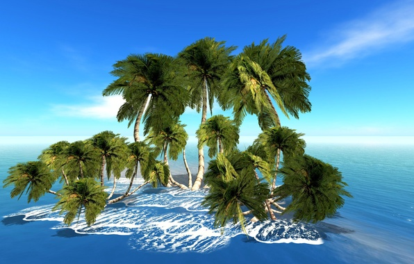 Picture sea, the sky, palm trees, rendering, island
