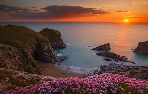 Picture sea, beach, landscape, rocks, Beach, England, Ocean, Sea, Rocks, Seascape, Bedruthan steps