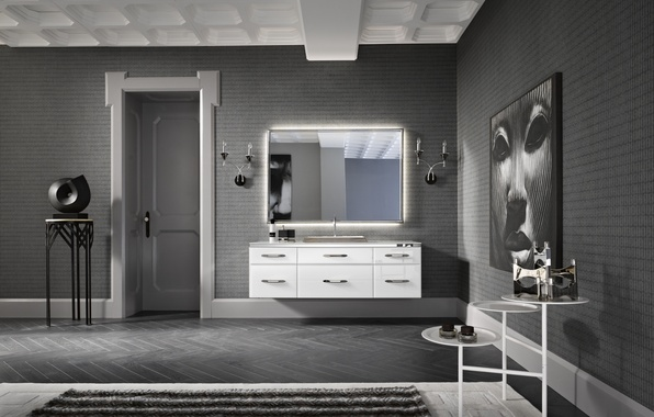 Picture white, design, grey, black, interior, bathroom, art Deco