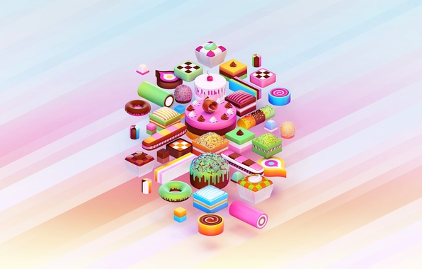 Picture paint, food, chocolate, colors, cookies, candy, sweets, cake, cake, donut, cake, cream, dessert, food, 1920x1200, ...