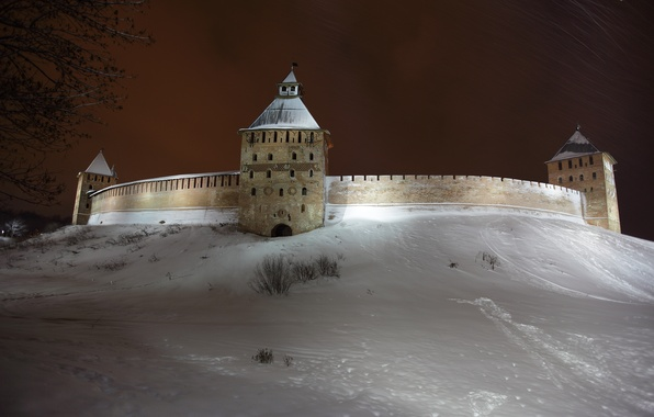 Picture winter, snow, night, the city, Wallpaper, tower, the Kremlin, wallpaper, Russia, homeland, the ancient city, ...