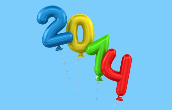 Photo wallpaper balloons, blue background, new year, figures, holiday, 2014
