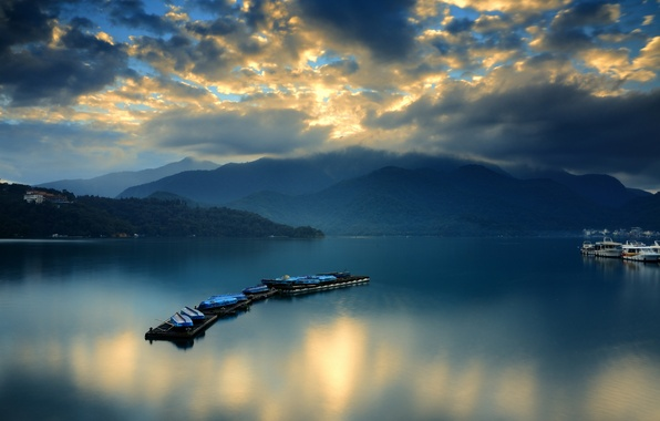 Picture clouds, mountains, dawn, boats, Bay, ferry