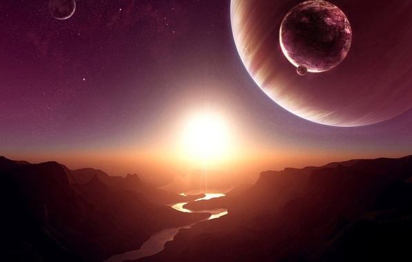 Picture the sun, space, stars, sunset, river, rocks, dawn, planet, satellite, canyon