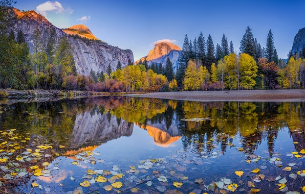 Picture autumn, forest, the sky, clouds, trees, mountains, reflection, river, blue, foliage, day, CA, USA, Yosemite, …