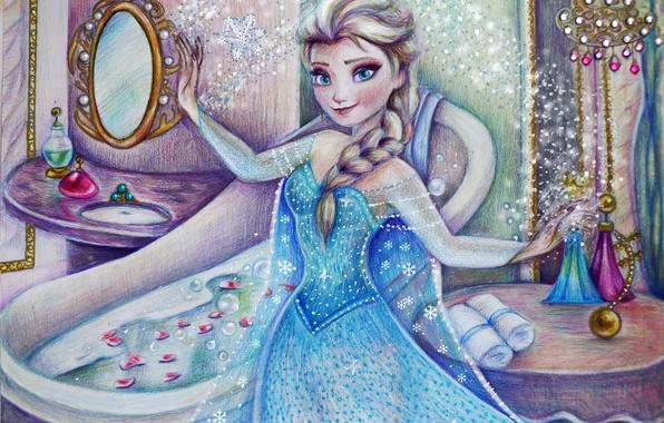Picture girl, figure, dress, Frozen, Disney, art, Elsa, Cold heart