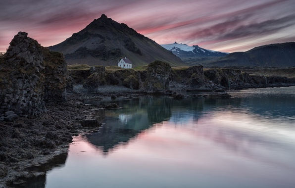 Picture the sky, sunset, mountains, lake, reflection, the evening, house, Iceland, the village