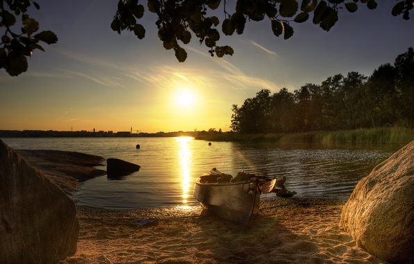 Picture forest, beach, summer, the sun, lake, stones, boat, morning, blocks