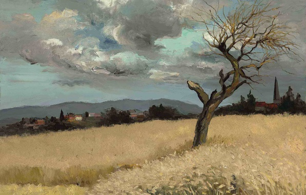 Picture field, clouds, landscape, mountains, tree, home, picture, Marseille Dif, Wheat in Ile-de-France