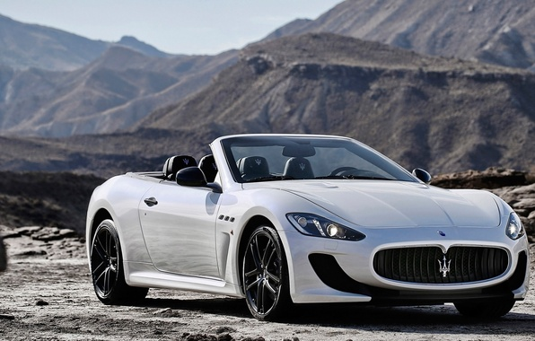 Picture Maserati, Mountains, White, Convertible, Maserati, Car, Car, White, GranCabrio, 2014, Grand