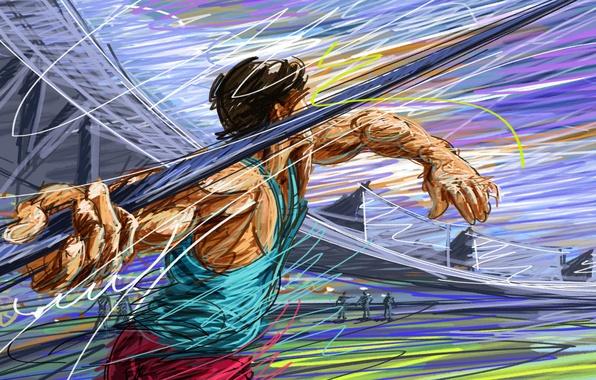 Picture figure, vector, athlete, spear, stadium, athletics, athlete, touch, throwing