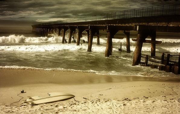 Picture sand, sea, the storm, wave, beach, void, clouds, storm, bridge, broken